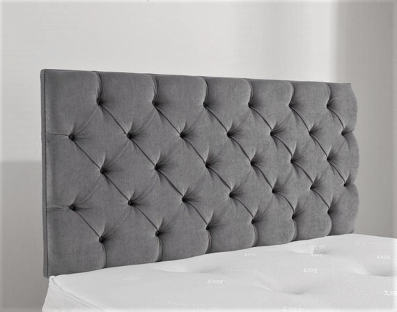 "5ft King Size 36/"" High Chesterfield Silver Grey Velvet Buttoned Winged Headboard"