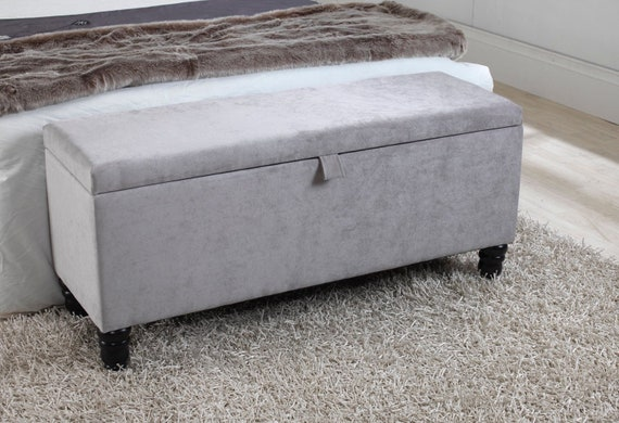 Awesome 4Ft Grey Naples Velvet Ottoman Storage Blanket Box With Black Wooden Legs Ncnpc Chair Design For Home Ncnpcorg