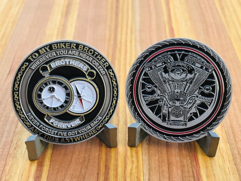MOTORCYCLE CHALLENGE COIN To My Biker Brother Anytime image 0
