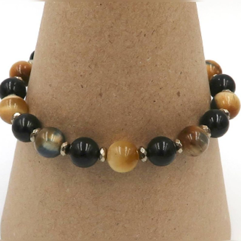 Protection and Strength Black Onyx and Pyrite Accented Bracelet for Boosting Energy Heal Addictions 8mm Tiger/'s Eye Self-Confidence