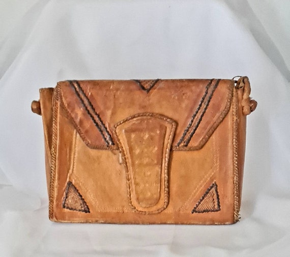 Vintage 1970s Tooled Leather Bag, Hippie Leather B