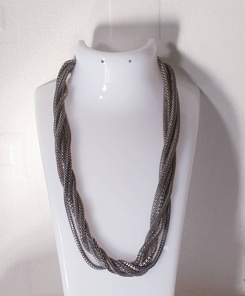 Vintage retro rope necklace statement necklace. twisted necklace silvertone necklace