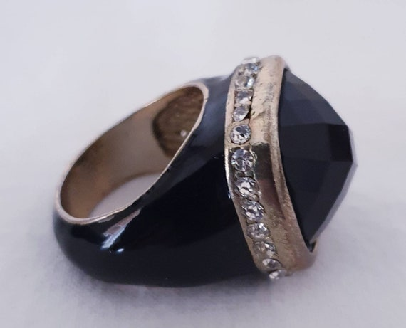 Vintage Black Enamel Lucite Ring, Chunky Square Lu