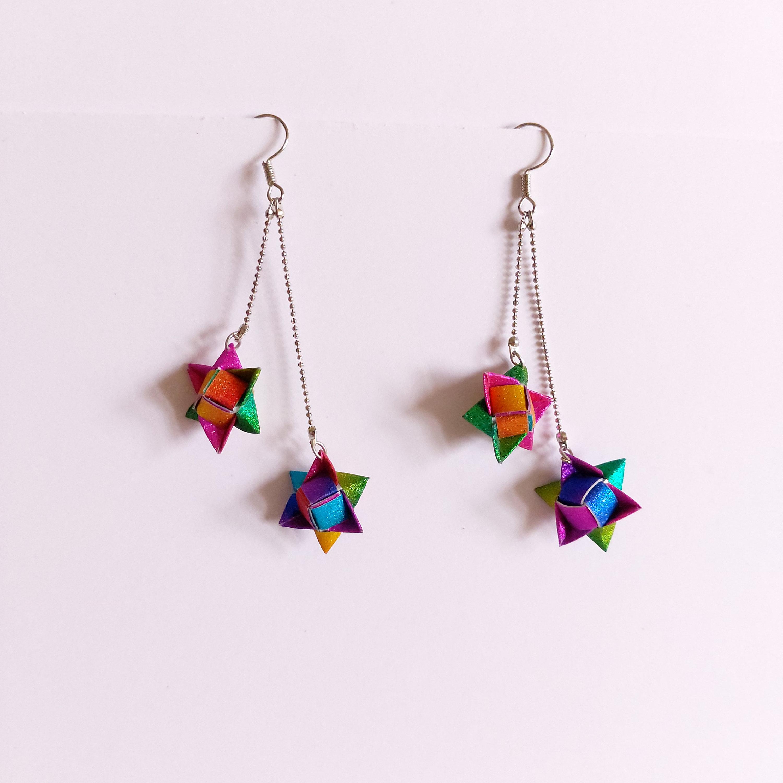 Turtle Shell Enamel Earrings \u2022 Unique Long Glass Earrings \u2022 Handmade Artisan Jewelry \u2022 OOAK Earrings \u2022 Crackle Enamel Jewelry