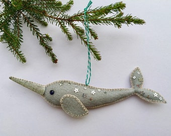 handmade narwhal felt christmas decoration