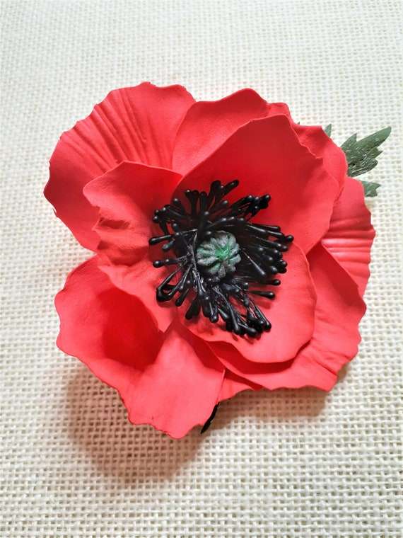 Poppy Flower Brooch Veterans Day Red Poppy Brooch Red Poppy Etsy