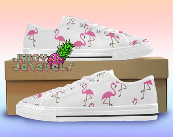 ce1b1f00a69646 FLAMING FLAMINGOS Canvas Shoes Rave Outfit Rave Clothing Music Festival  Clothing Custom Vans Shoes Vans Old School Converse Canvas Sneakers
