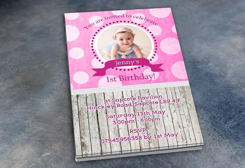 Polkadot Birthday Invitations /& Envelopes Personalised Party Prints with Photo