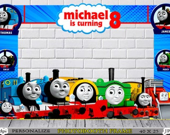 Thomas The Train Photo Booth Birthday Frame Any Name Age Digital