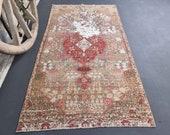 3x6 Beige Turkish Vintage Rug, Red Oushak Rug, Bohemian Rug, Wool on Cotton Gold Tan, Home Decor Oriental Rug, Carpet, Heriz 3.2x6.1