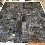 Black and Dark Brown Custom Patchwork Rug