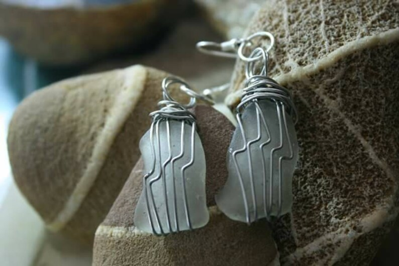 Authentic White Sea glass Pendant and Pierced Earring Set wire wrapped in non tarnish Silver jewelry wire with 20 Black cord necklace