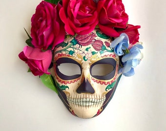Catrina with roses and blue flowers.Day of the dead mask.Calvera mask. ad5b96d8e38