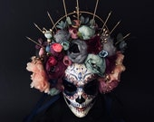 Available.Catrina mask with pink and blue flowers. Day of the dead mask. Dia de Muertos mask. Masquerade mask.