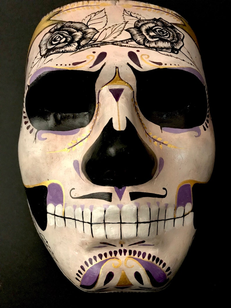 Day of the dead mask for men with black roses Halloween mask. Made to order Masquerade mask for men