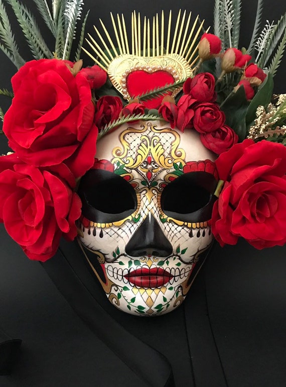nouvelle arrivee couleur attrayante france pas cher vente MADE TO ORDER -Catrina with red roses. Masquerade mask. Day of the Dead  mask.