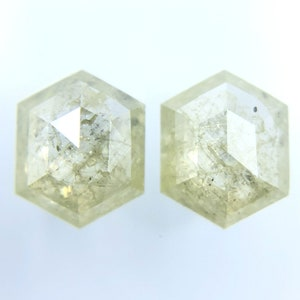 0.66Ct Natural Cushion Shape Pair Rose Cut Salt And Pepper Diamond J122