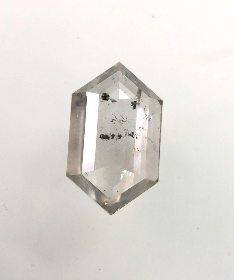 0.64 CT 7.41 X 4.41 MM Size Natural Loose Hexagon Cut Shape Salt And Pepper Diamond Rustic Diamond J1327