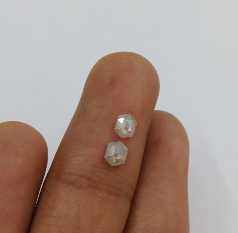 0.76Ct Natural Light Grey Color Pair Hexagon diamond J57
