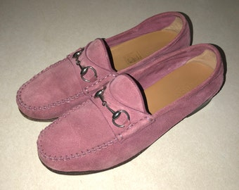 e8d7595ae1a Authentic Gucci Pink Suede Horsebit Loafers Size 7 Vintage