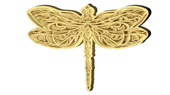 Download 3d Dragonfly Design Dxf Svg Files For Cnc Laser Cutting Etsy