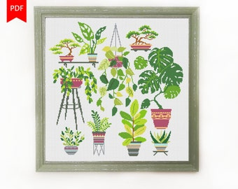 Home Plants Cross Stitch Pattern, Cross Stitch Chart, Modern Floral Embroidery Pattern, Botany, Сacti, Home Garden, Instant Download PDF