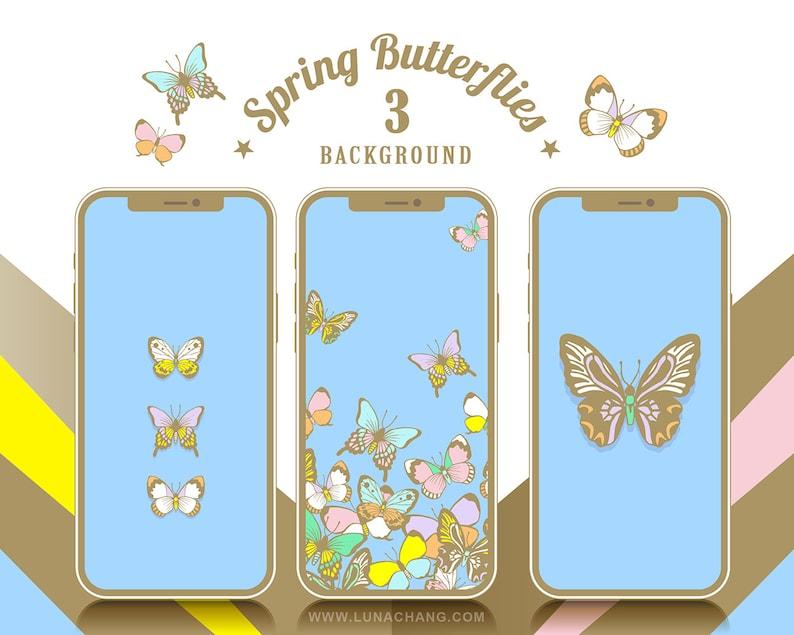 3 Spring Butterflies Phone Wallpaper  Blue  Romantic Animal image 0