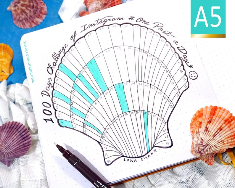 100 Days Tracker A5 Shell Chart  Printable Bullet Journal image 0