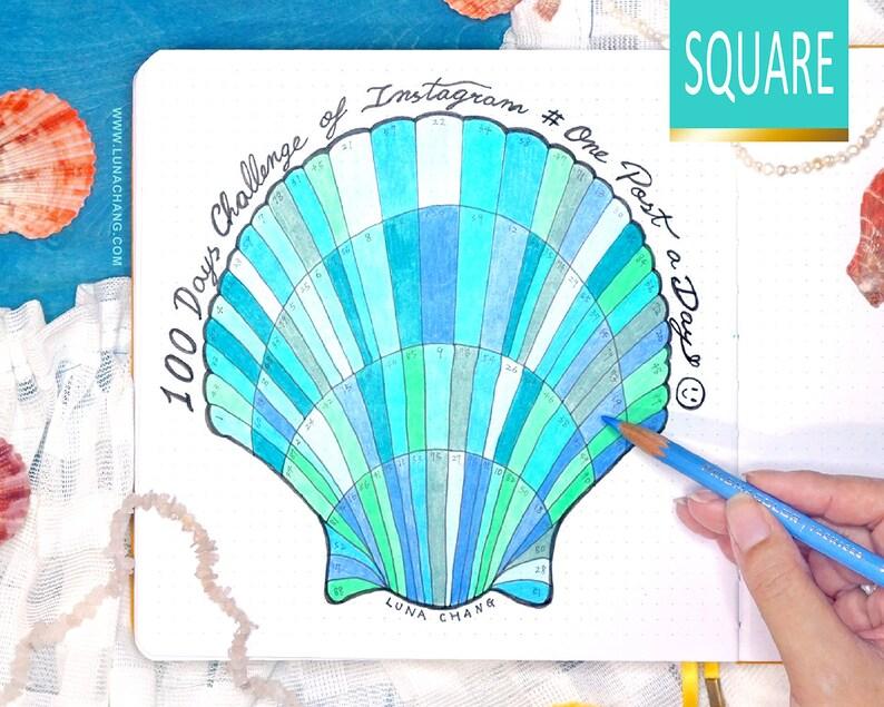 100 Days Tracker Square Shell Chart  Printable Bullet Journal image 0
