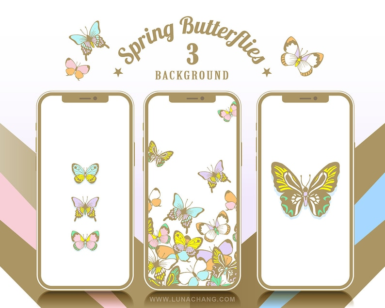 3 Spring Butterflies Phone Wallpaper  White  Romantic Animal image 0