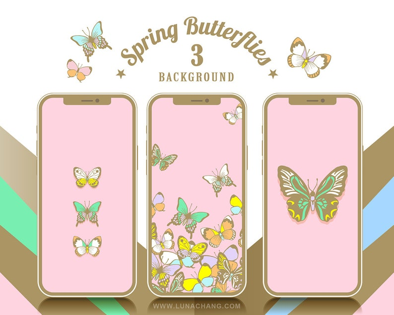 3 Spring Butterflies Phone Wallpaper  Pink  Romantic Animal image 0