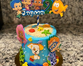 Stupendous Bubble Guppies Cake Etsy Birthday Cards Printable Trancafe Filternl