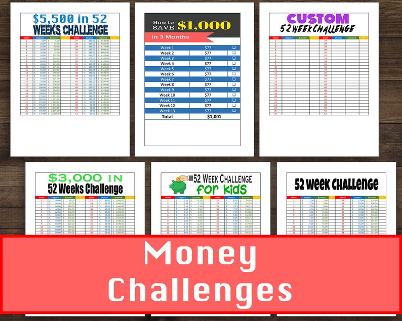 graphic regarding 52 Week Money Saving Challenge Printable identify 6 Unique Finance Funds Preserving Issues 52 7 days Price savings Dilemma + Minimal Price savings Tracker - PRINTABLE