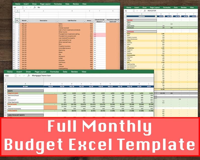 Monthly Budget Spreadsheet Personal Finance Sheet Home Finance Spending Calculator Excel Budget Template Personal Balance Sheet