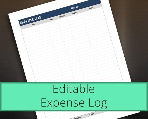 expense log editable personal finance tracker money etsy