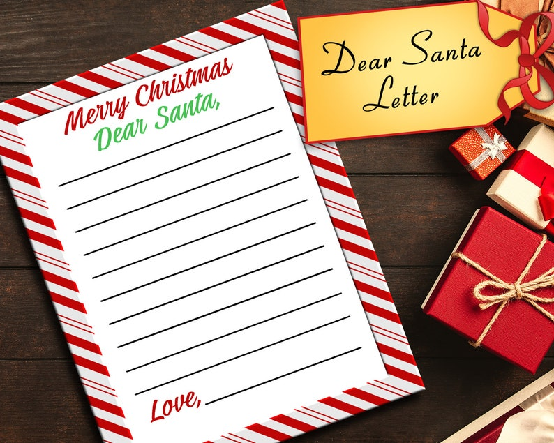 Dear Santa Letter Kids Letter To Santa Claus Holiday Fun Activity Printable Christmas Letter Present Wish List Sheet
