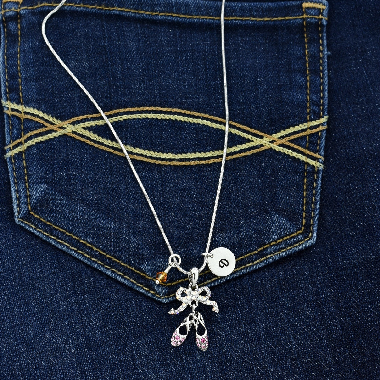 swarovski crystal ballet shoes custom necklace pink pendant personalized hand stamped initial letter and birthstone charm chain