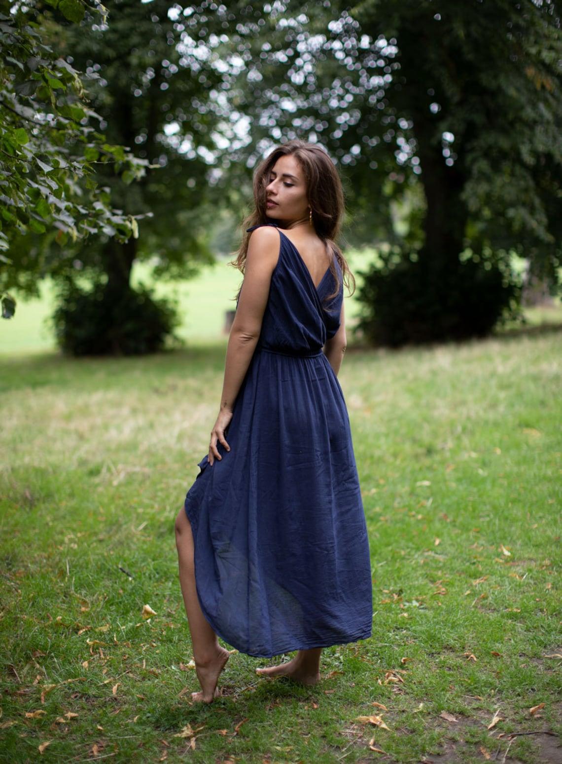 Blue Asymmetric Cotton Boho Dress Hippie Tribal Dress
