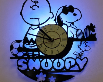snoopy art snoopy christmas wall clock snoopy decor vintage vinyl record gift for friend - Snoopy Christmas Gifts