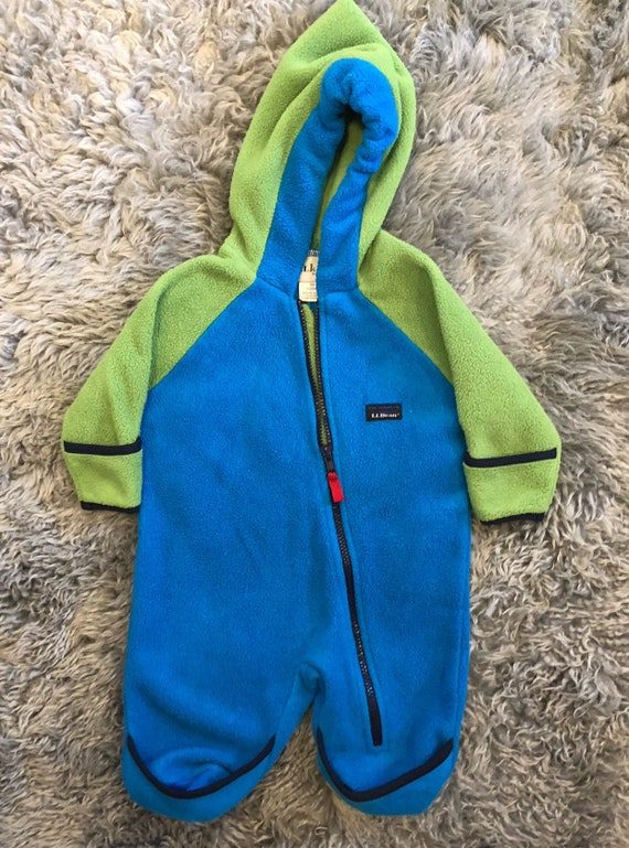 dfbcfc8e7 Vintage Ll bean size 6 months fleece coverall green and blue