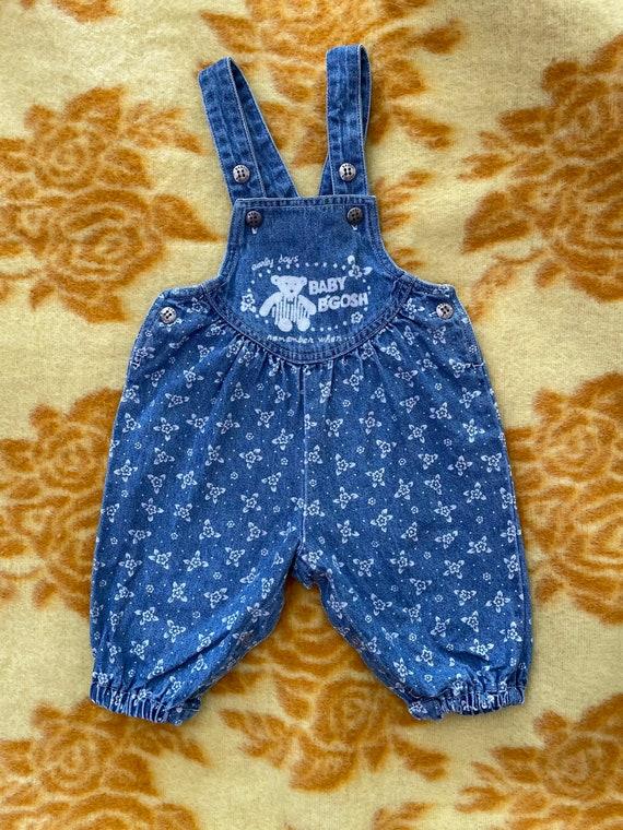 Baby OshKosh Bigosh Genune Bib overalls denim jean Vintage Baby child fully lined Plaid 6-9 months winter fall