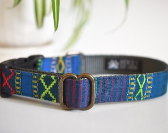 Boho Dog Collar Blue Geometric Textured Pattern >> STARRY NIGHT