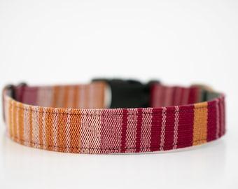 Rosy Boho Guatemalan Dog Collar Mayan >> SUNDOWN