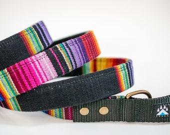 Black Rainbow Dog Leash Mexican Fabric >> ONYX