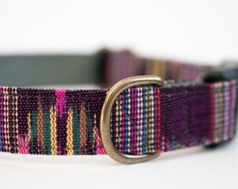 Purple Woven Boho Guatemalan Dog Collar Ikat Mayan Fabric >> ASTER