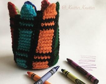 Colorful Crayon Holder Pattern - Crochet Crayon Organizer - Crayon storage - Back To School Organizer - Pencil Holder - Desktop