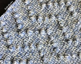 Crochet Baby Blanket Pattern   All Bobbled Up   PDF   Tunisian Crochet   Beginner Friendly   Easy Pattern   Instant Download   Baby Blanket