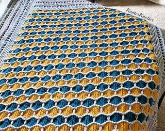 Madhu Honeycomb Blanket   Tunisian Crochet Pattern   PDF   Overlay Tunisian Crochet