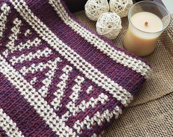 Easy Tunisian Crochet Pattern   Asha Cowl   Two Stitch pattern   PDF   Instant Download   Beginner   Easy DIY Pattern   No color change!