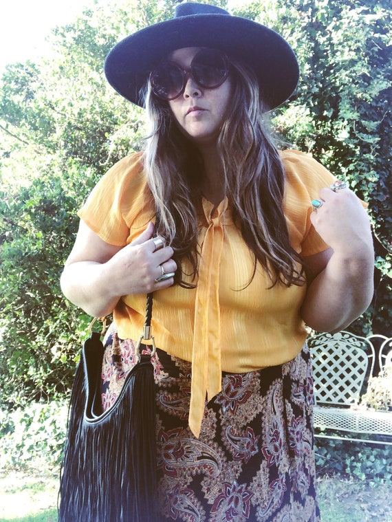 Vintage 70's mustard yellow plus size blouse